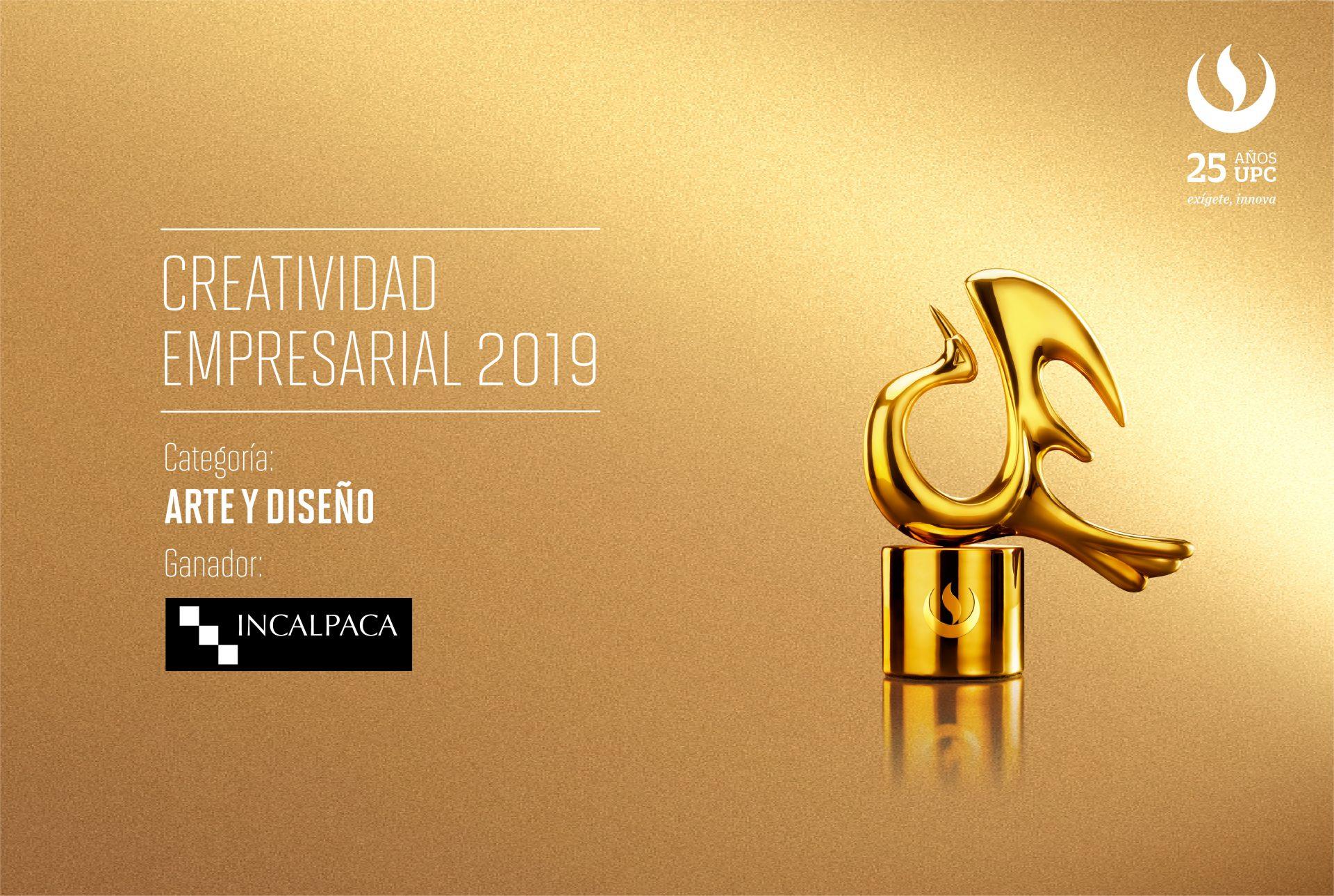 Creatividad Empresarial 2019: Incalpaca TX  fue el primer ganador de la noche en la categoría Arte y Diseño