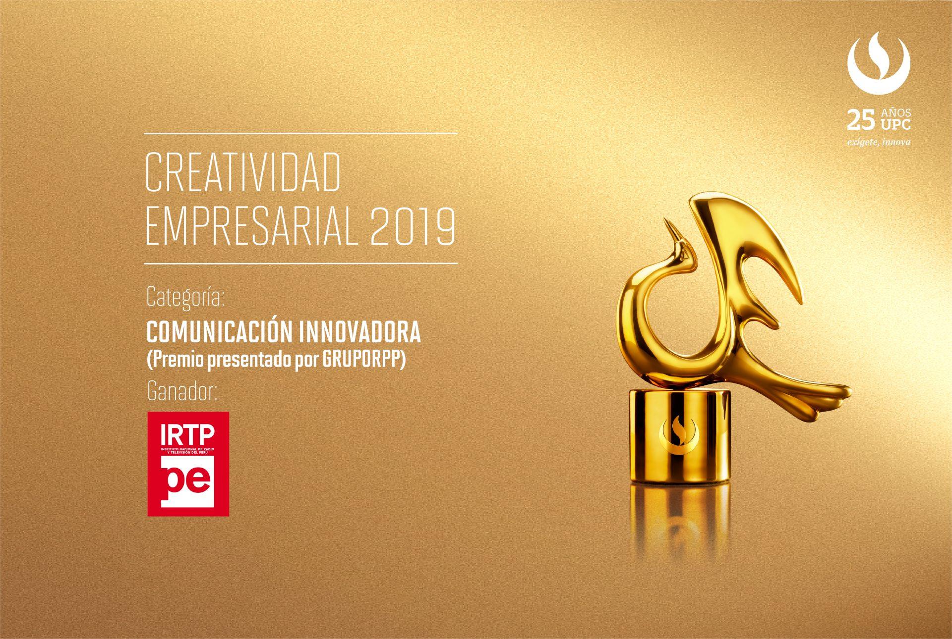 Creatividad Empresarial: Canal IPe del INRTP ganó en la categoría Comunicación Innovadora