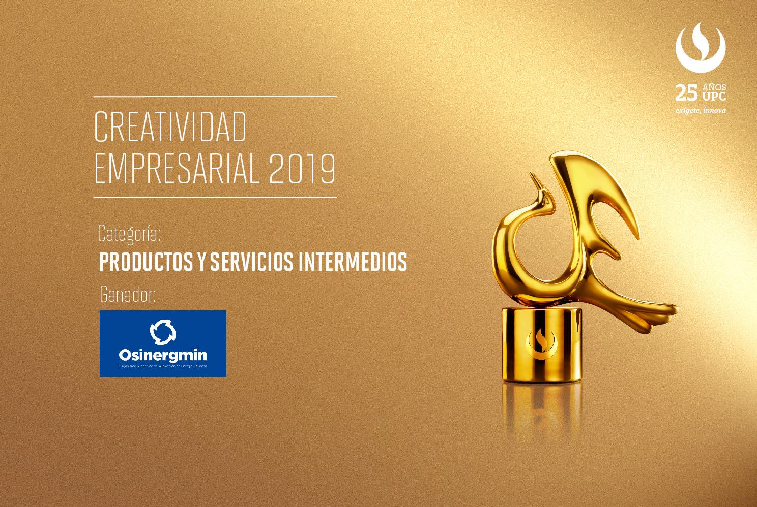 Creatividad Empresarial 2019: Osinergmin fue reconocido en la categoría Productos y Servicios Intermedios