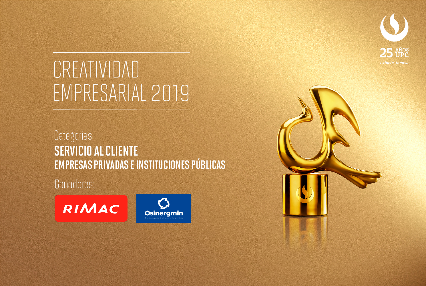 Creatividad Empresarial 2019: RIMAC SEGUROS y OSINGERMIN fueron premiadas en la categoría Servicio al Cliente