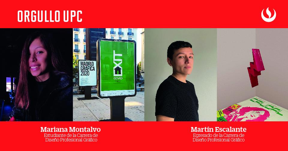 Alumnos de la Carrera de Diseño Profesional Gráfico, Martín Escalante y Mariana Montalvo destacan en concursos internacionales